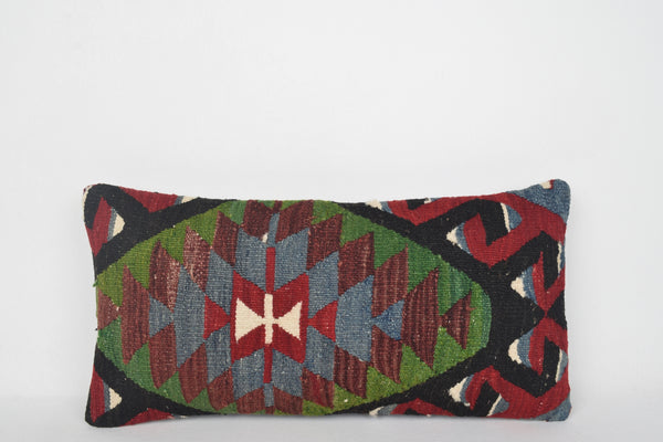 "Green Kilim Pillow Covers, Pink Turkish Pillow Covers F00144 12x24 "" - 30x60 cm."