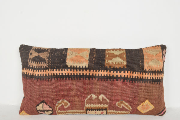 Neutral Kilim Rug Pillow F00444 Lumbar Ethnic Embroidered Handmade