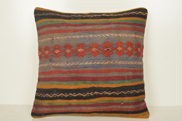 Red Kilim Floor Cushion C01646 18x18 Native Indigo Mid Century Adornment