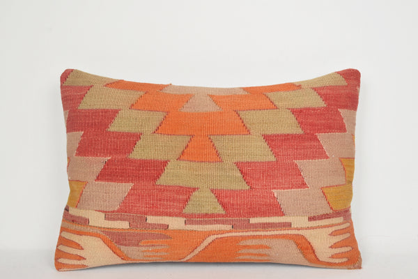 Kilim Print Pillow E00048 Lumbar Nomad Folkloric Knotted Woollen