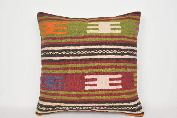 Kilim Rug Pillow Covers A00050 24x24 Fine Homemade Social Pattern Vintage