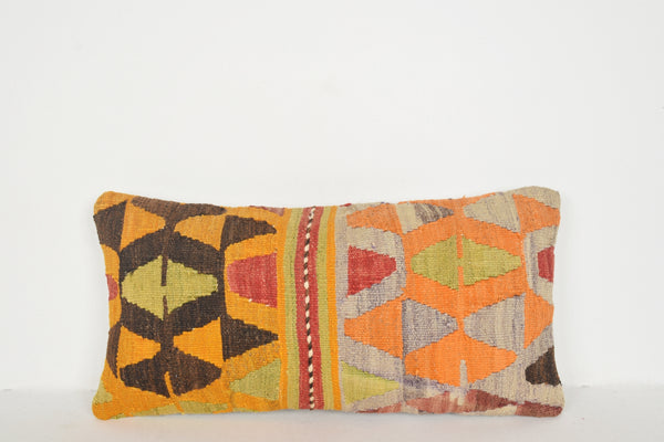 "Handwoven Kilim Rug Pillow 12x24 "" 30x60 cm. F00351 Turkish Rug Patterns Pillow"
