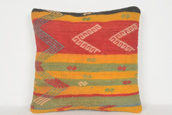 Brown Kilim Cushion D00556 16x16 Hand embroidery Bed Prehistoric