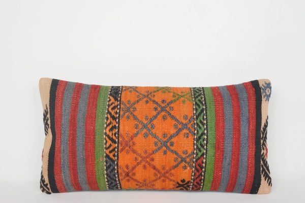 Turkish Rugs Instagram Pillow F00057 Lumbar Neutral Tapestry Handwoven