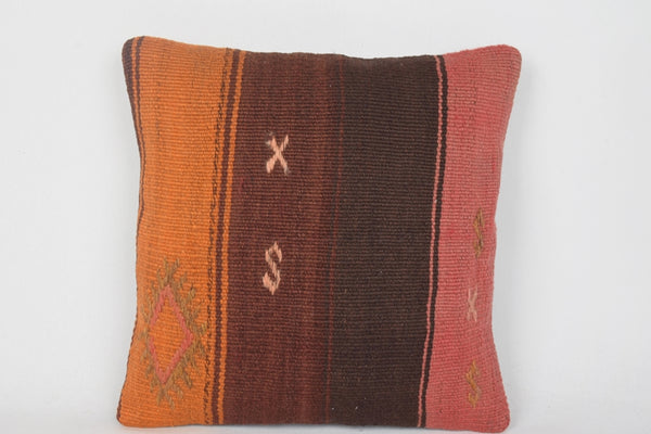 Inexpensive Kilim Pillows 16x16 Orange Brown Pink Vintage