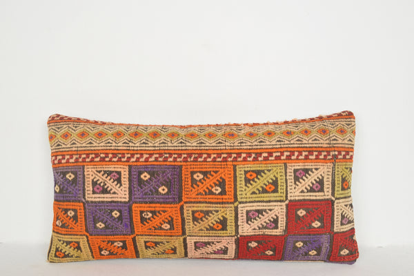 Kilim Rugs Store Pillow F00560 Lumbar Tradition Mid century Eclectic