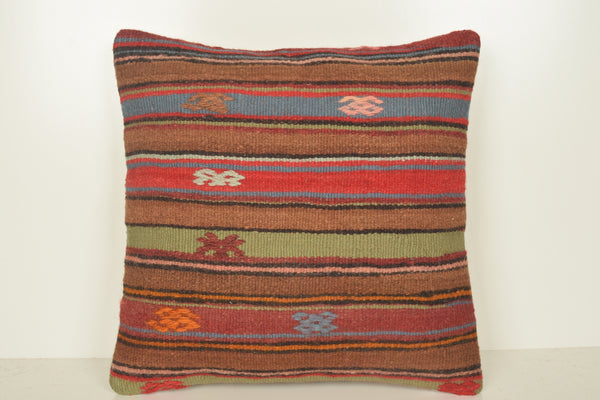 Striped Turkish Pillow Covers C01660 18x18 Handwoven Bohemian Rare