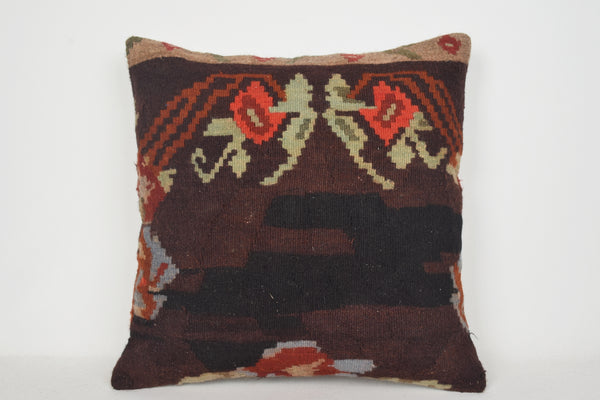 Velvet Kilim Pillow A00060 24x24 Needlework Rare Pouf Economic Tribal