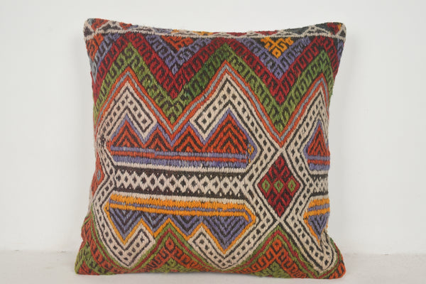 Orange Kilim Pillow A00461 24x24 Mythological Rustic Interior Primary