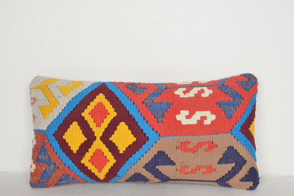 Bright Kilim Rugs Pillow F00461 Lumbar Hand Woven Bright Needlepoint