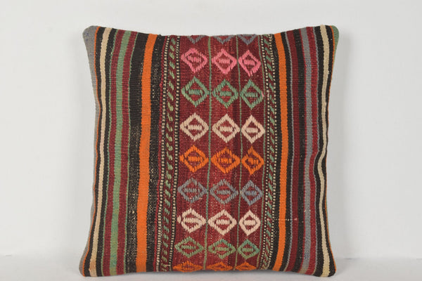 D00293 Turkish Kilim Pillow Covers 16x16, European pillows 16x16, Traditional pillow cover 16x16
