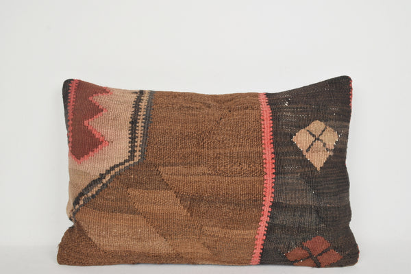 Aztec Kilim Pillow E00163 Lumbar Unique Tribal Gypsy Ornament