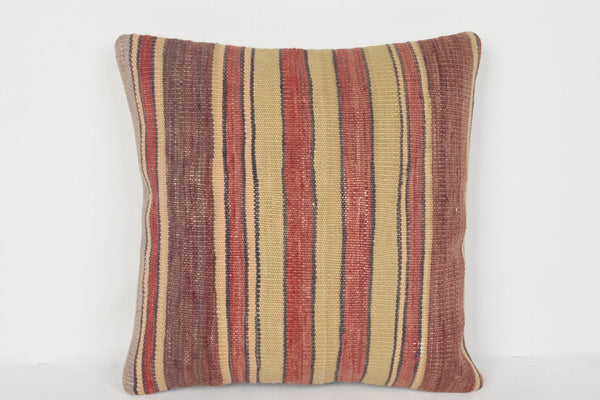 Neutral Turkish Pattern Kilim Strong Pillow Traditional 16x16