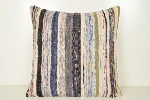 Kilim Floor Pillow Black and White A00965 24x24 Regular Modern