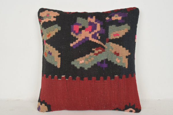 Kilim Patterned Pillow C00567 18x18 Clean Woven Antique