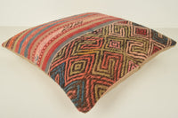 Kilim Old Rug Pillow B02068 20x20 Shabby Chic Accents Cotton
