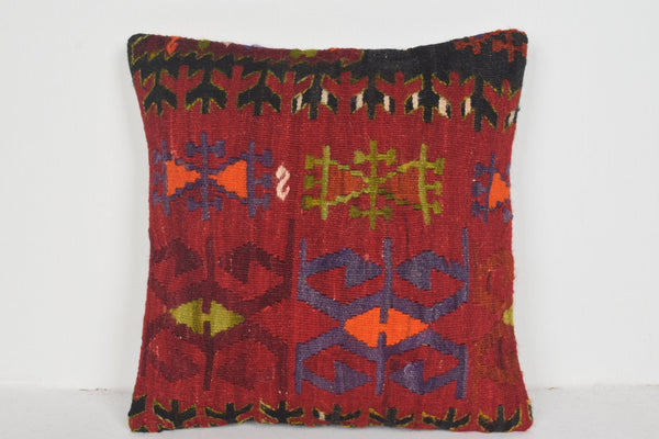 Kilim Bench Rugs Pillow D01570 16x16 Native Anatolian Neutral