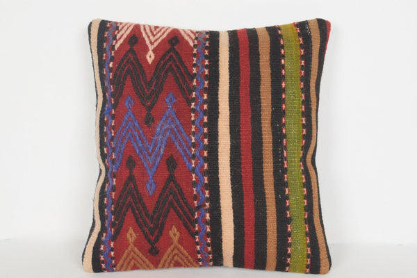 Kilim Floor Pillow Pouf D00607 16x16 Flat weaving Folk Economic