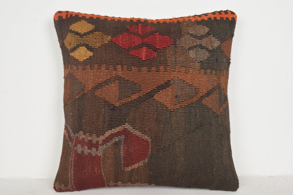 Kilim Rugs Dark Brown Pillow B00171 20x20 Folk Art Retail Cottage