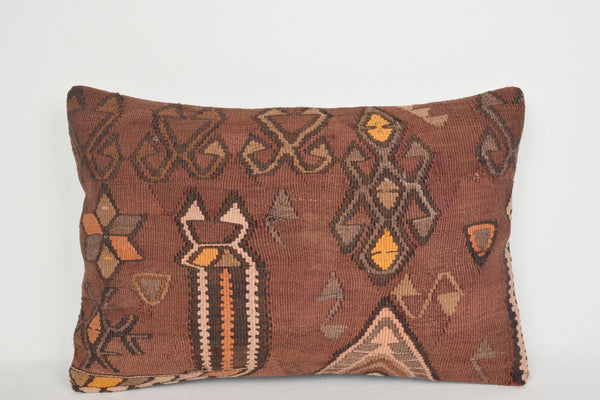 Brown Kilim Pillows E00073 Lumbar Handwork Accessory Low-priced