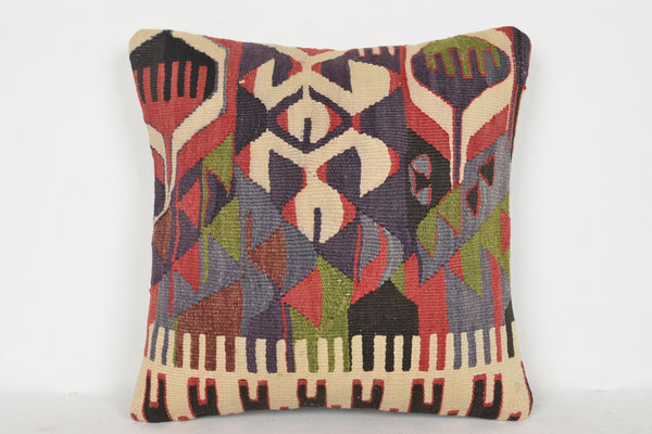 Turkish Traditional Rugs Pillow D00979 16x16 Mexican Pouf Tropical