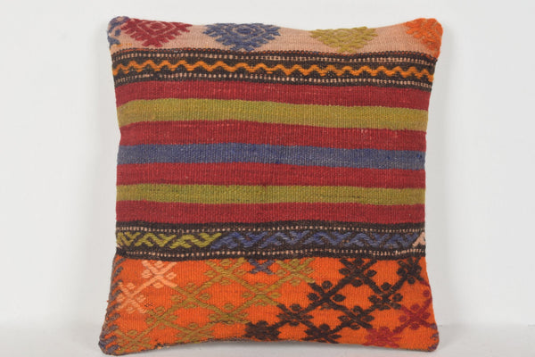D00382 Kilim Pillow Covers 16x16, Geometric pillow cover 16x16, Nursery pillows 16x16