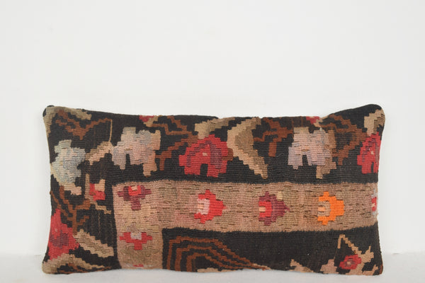 Plush Kilim Rug Pillow F00682 Lumbar Textile Hand Embroidery Mexican