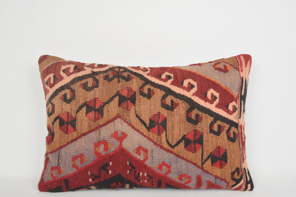 Kilim Pillow Cover 16x24 E00083 Lumbar Unique Comfortable Rich