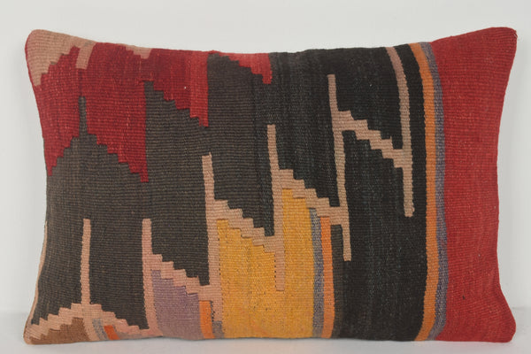 Striped Kilim Pillow E00388 Lumbar Patio Beach Folkloric Woolen