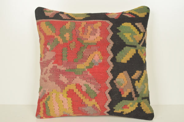 Kilim Floor Cushion Cover C01488 18x18 Regular Turkish Euro Nautical