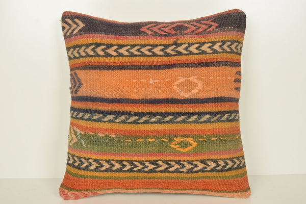 Turkish Carpet Floor Pillow C00889 18x18 Pattern Prehistoric Embroidered