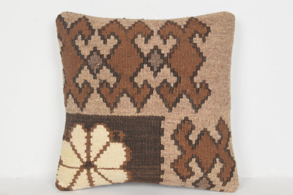 Kilim Rug Small Pillow D00989 16x16 Pattern Patio Personal