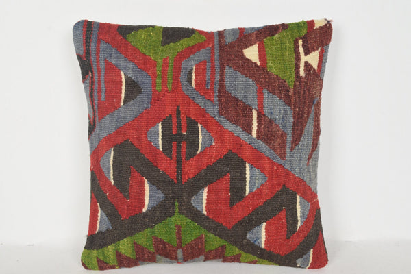 Peach Kilim Pillow D00790 16x16 Handmade Hand Woven Economic