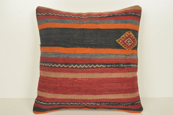 Kilim Tapestry Pillow C00892 18x18 Excellent Geographical Folk art