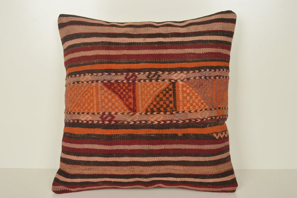 Layering Kilim Rugs Pillow B02094 20x20 Textile Hand Knot Geometric