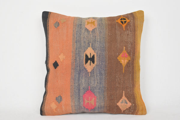 Turkish Orange Purple Kilim Cushion Wholesale C00064 18x18