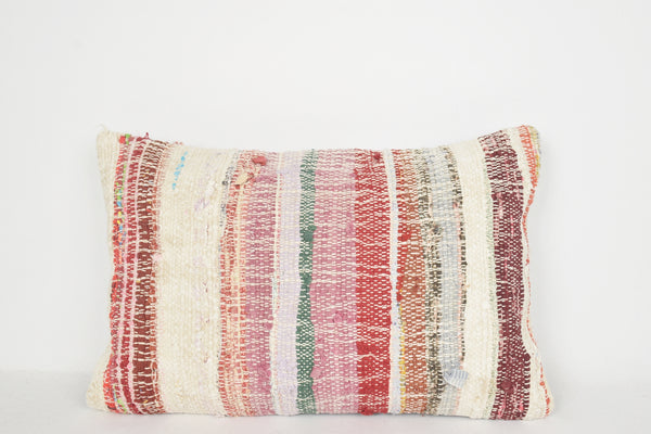 Kilim Pillow Gold E00300 Lumbar Southern Hand Embroidery Rug