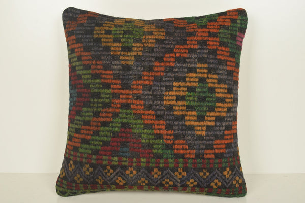 Vintage Turkish Pillow C00911 18x18 Prehistoric Tapestry European