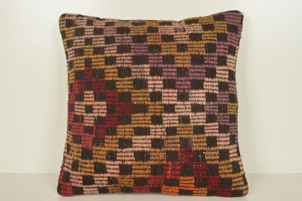 Handmade Kilim Cushion C01113 18x18 Knotted Modern Old