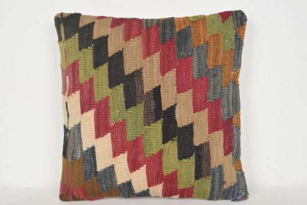 Kilim Rug Origin Pillow D00814 16x16 Bright Neutral Rich