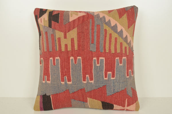 Turkish Pillows Vancouver C01528 18x18 Village Folkloric Fragment Handwoven