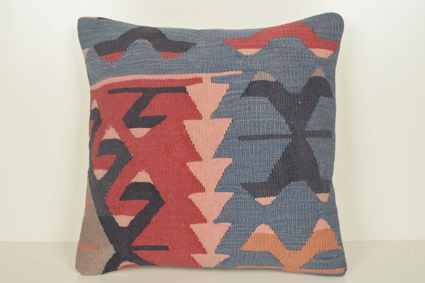 Kilim Pillow Cover 18x18 C01531 Indigo Embroidered Hand Crafted