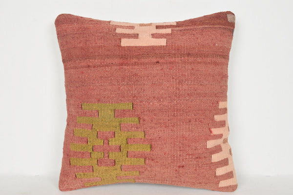 Kilim Pillow Water Green D00914 16x16 Prehistoric Knit Mid-century