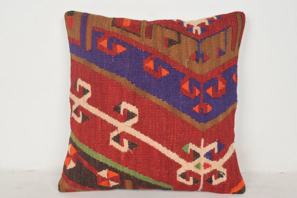 Turkish Antique Rug Pillow Cover C00666 18x18 Southern Salon Folkloric