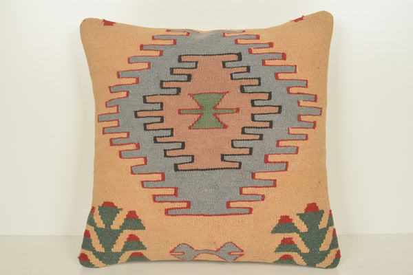 Kilim Accent Pillows C01569 18x18 Regular Ethnic Bench Turkish Cotton