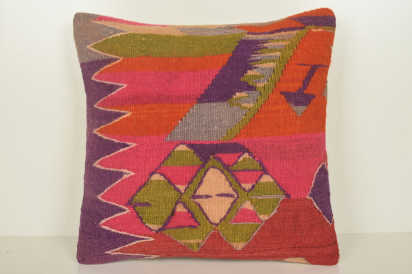 Purple Pink Kilim Cushion C01574 18x18 Couch Midcentury Design Coastal