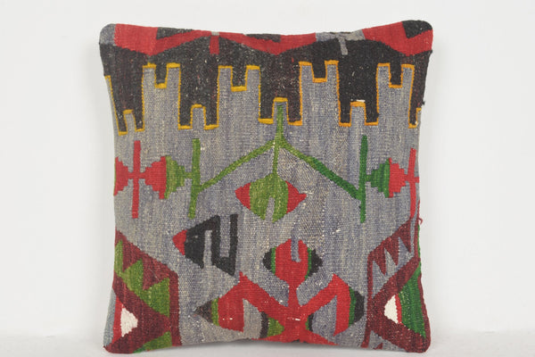Kilim Pillow Covers 16x16 D01086 16x16 Woven Hellenistic Traditional