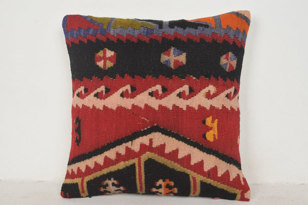 Orange Kilim Pillow C00693 18x18 Cheap Hellenistic Adornment