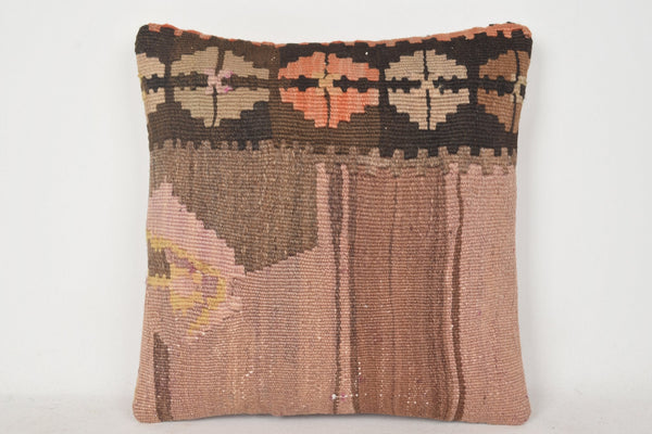 Brown Kilim Cushion C00322 18x18 Folk art Hand embroidery Bohemian