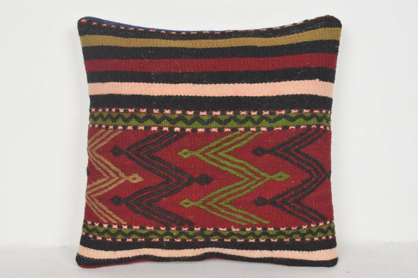Overdyed Kilim Pillow D00529 16x16 Handknit Unusual Homemade